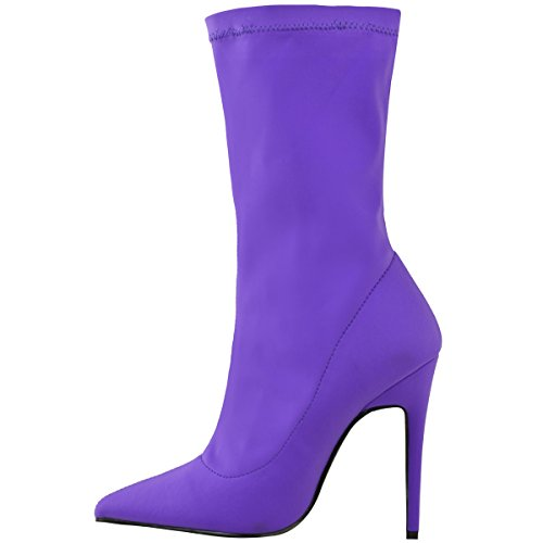 Toe Womens Pointed Bright Lycra High Shoes Boots Ladies Heels Stiletto Thirsty Lycra Stretch Purple Ankle Fashion BO5PqP