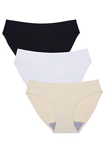(Wealurre Seamless Underwear Invisible Bikini No Show Nylon Spandex Women Panties (B/W/A,S))