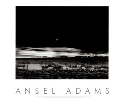Moonrise, Hernandez, New Mexico 1941 Art Poster Print by Ansel Adams, Overall Size: 30x24, Image Size: 22.5x17.75