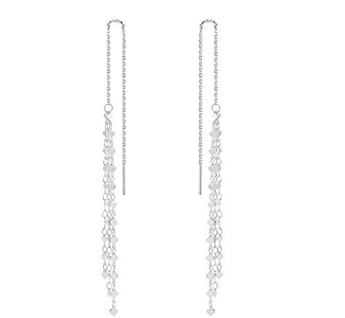 Threader Tassel Earrings Sterling Silver Love Heart Dangle Drop Earrings Long Chain