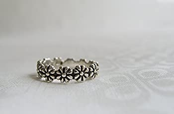Sterling Silver Daisy Chain Ring, Flower Ring, Engravable