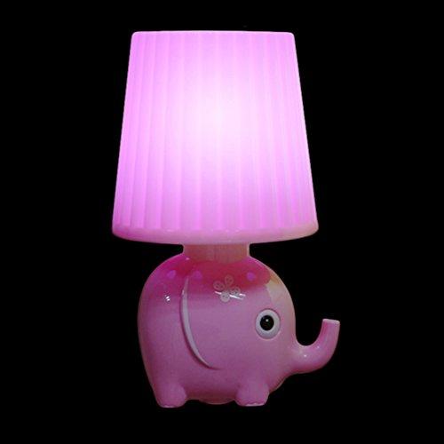 YJY Light Sensor Night Light Lovely Elephant - Intelligent Control LED Wall Lamp Plug in for Baby Child Nursery - Pink