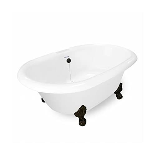 American Bath Factory T120A-OB-B & DM-7 Heritage 72 in. Bisque Acrastone Tub & Drain44; Old World Bronze Metal Finish best