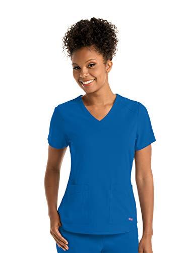 (Grey's Anatomy GRST011 Emma V-Neck Scrub Top - Spandex Stretch New Royal L)