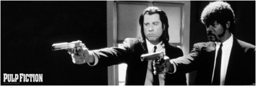 Pulp Fiction   Door Movie Poster  Travolta   Jackson   Guns  Size  21 X 62