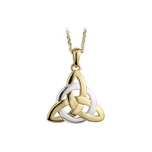 Circle Trinity Knot Necklace Gold Plated 2 Tone Irish Made by Tara