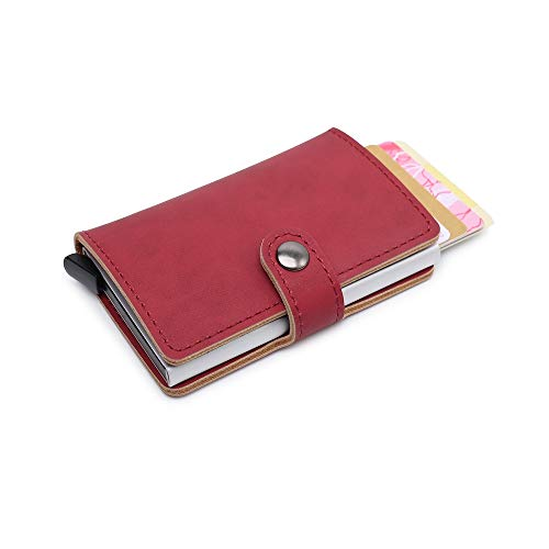 Leather Wallet Minimalist & Slim from GK Galleria with RFID for Men & Women (Red)