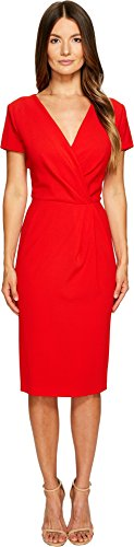 Escada Women's Dsipora Short Sleeve Wrap Dress Acrylic Red 42
