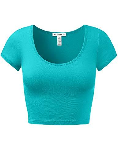 (Women's Cotton Basic Scoop Neck Crop Short Sleeve Tops)