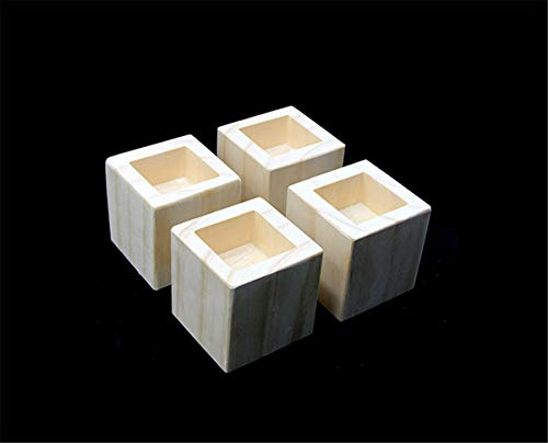 Zzooi Personalized Solid Wood Square Legs Sofa,Table,Bed Risers Custom Square Feet Furniture Risers Set of 4 ()