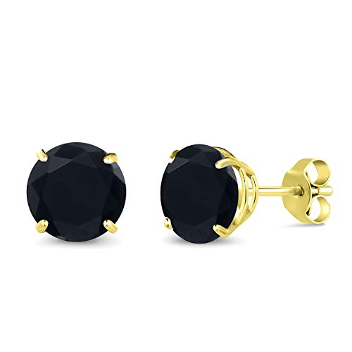 Gem Stone King 2.56 Ct Round 7mm Black Onyx 14K Yellow Gold Stud Earrings