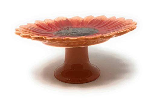 Northeast Harvest Autumn Ceramic Sunflower Pedestal Accent Plate Cupcake Stand, 6.25-Inch (Orange)