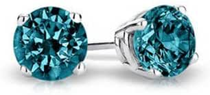 PARIKHS Round Cut Blue Diamond Stud AAA Quality in White Gold (0.04ct)