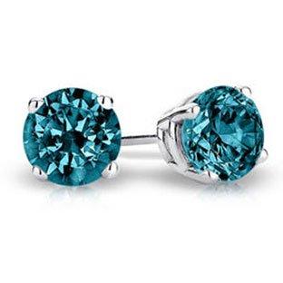 PARIKHS Round Cut Blue Diamond Stud AAA Quality in White Gold ()