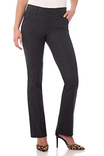 Rekucci Women's Ease in to Comfort Fit Classic Bootcut Pant w/Tummy Control (14,DK Charcoal)
