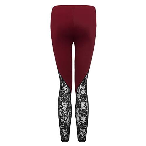 Allywit Fashion Women Lace Plus Size Skinny Pants Yoga Sport Pants Leggings Trousers Workout Running Leggings Wine by Allywit- Women (Image #6)