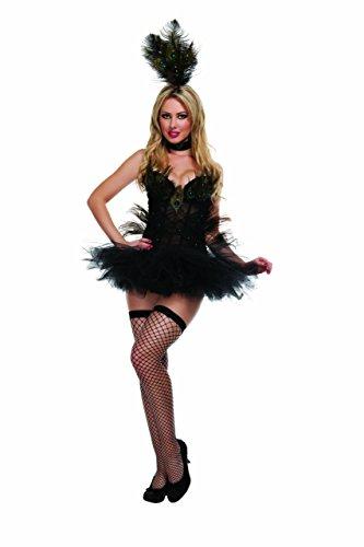 Starline Exotic Peacock Women's Sexy Costume 4 Piece Set, Black, Small]()