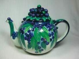 Blue Sky Clayworks Heather Goldminc Cream Purple Teapot