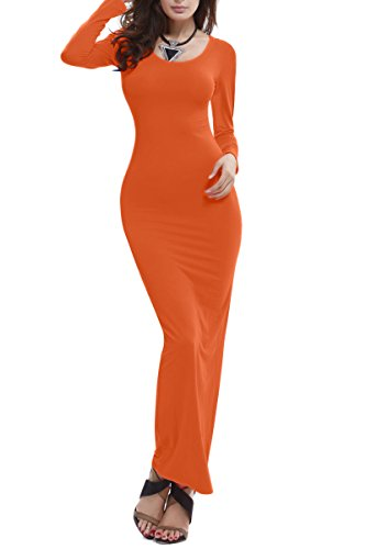Orange Block Long Dress - 6
