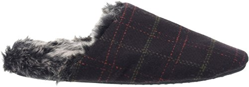 Totes Men's Fur Lined Check Mule Open Back Slippers Brown (Brown) qdJVH5X