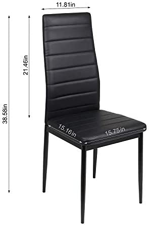 High Back Dining Chair Set of 6 Faux Leather Metal Leg Comfortable and Breathable for Dining Room Kitchen Restaurant