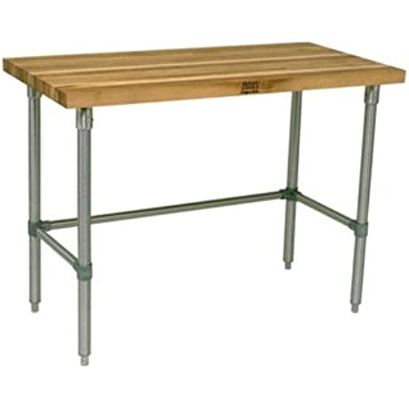 Oil Finish Maple Top Work Table With Galvanized Base And Bracing