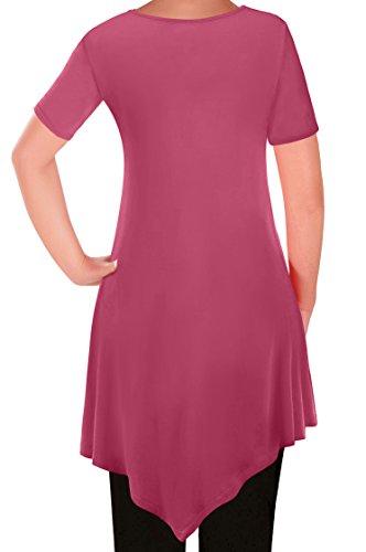 Dames Shirt Keira Evas Chemisier Femmes V Aux Eyecatch Tunique T Col En Ourlet Corail Tops 0fqqPw4x