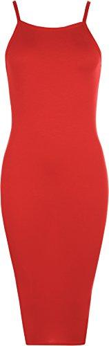 Vestito Donne Senza Wearall Alto Rosso Midi Aderente Spalline Con Collo Maniche Pianura Tratto Xq1dq