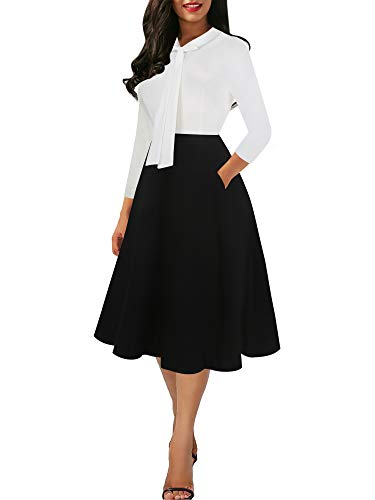 oxiuly Women's Vintage Classic Black White Patchwork 3/4 Sleeve V-Neck Bow Tie Pockets Casual Work Swing Dress OX278 (XL, White Black PT7)