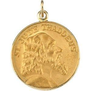 St Jude Thaddée Médaille Pendentif Rond en or jaune 14carats 19,5
