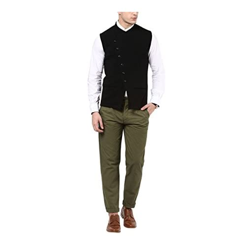 31SCwbWDclL. SS500  - Hypernation Black Color Cotton Casual Waistcoat