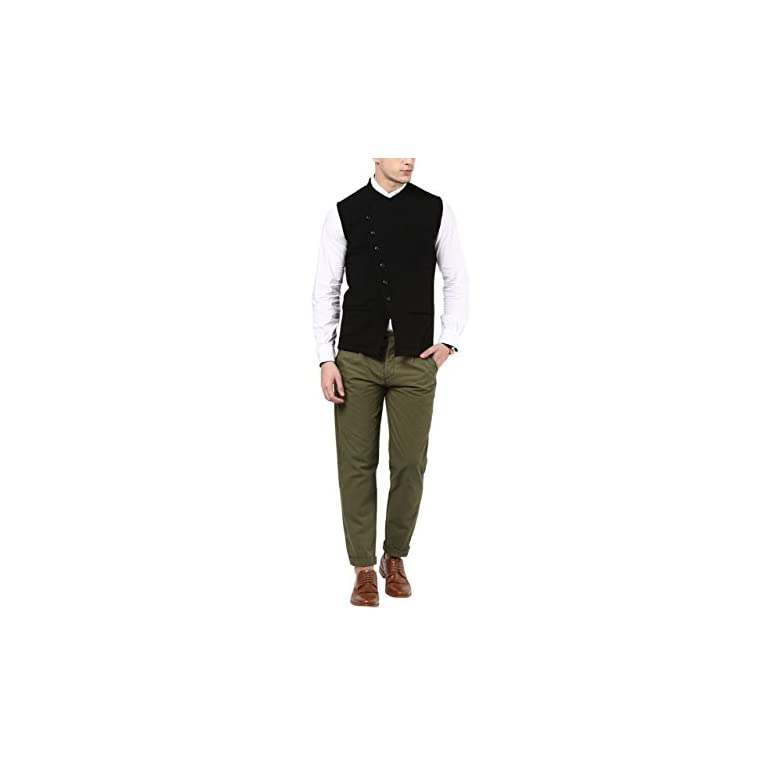 31SCwbWDclL. SS768  - HYPERNATION Black Color Cotton Casual Waistcoat