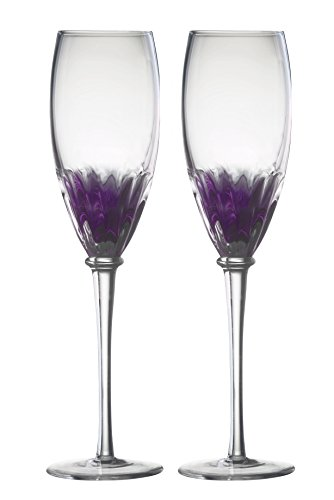 DRH Anton Studios Solar Set of 2 Champagne Glasses Flutes in Purple -