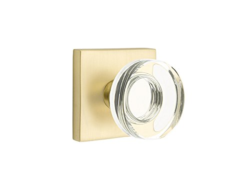 (Privacy Set, Modern Square Rosette, Modern Disc Crystal Knob, Satin Brass)