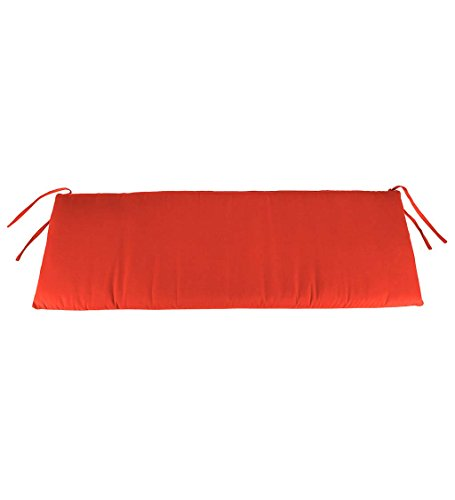 Plow & Hearth Classic Polyester Outdoor Swing/Bench Cushion, 57'' x 18.75'' x 3'' - Coral
