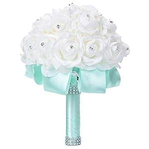 Faylapa Wedding Bridal Bouquet Crystal Pearl Silk Roses Light Green Bridal Bridesmaid Hand Flowers Wedding,Engagement Valentines Day Decor 27