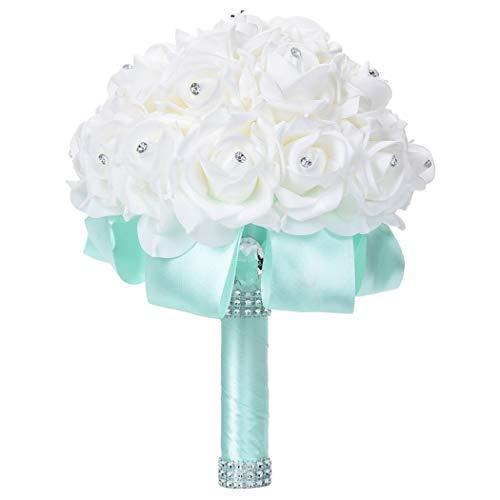 Faylapa Wedding Bridal Bouquet Crystal Pearl Silk Roses Light Green Bridal Bridesmaid Hand Flowers Wedding,Engagement Valentines Day Decor