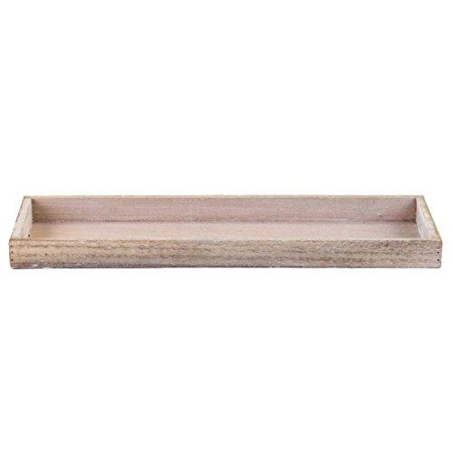 Holztablett TRAY - natural wash - rechteckig - Kerzenteller - Holzteller (42 x 14 x 3 cm)