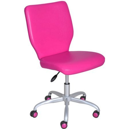 Armless Adjustable Desk Home/Office Chair, Padded Seat and Back for Comfort (Fuschia)
