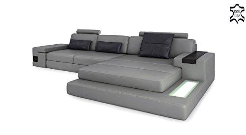 Ledercouch grau  Ledersofa Wohnlandschaft Leder modern Ecksofa Sofa Couch ...