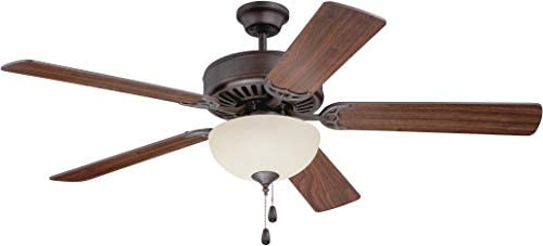 Craftmade K11201 Pro Builder 202 52 Ceiling Fan with CFL Lights and Pull Chain, 5 Blades, Aged Bronze Brushed