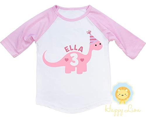 Happy Lion Clothing - Toddler Girl Pink Dinosaur Birthday Shirt 3/4 Raglan Baseball Tee -