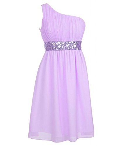 Damen One Green Shoulder Beaded Chiffon Fanciest Kurz Brautjungferkleider Lavender Waist Z7qxwZand