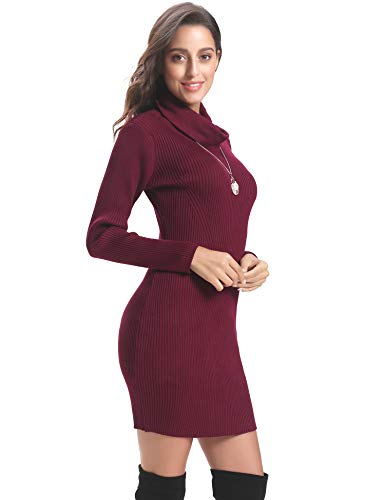 Sweater Sleeve Bodycon Elasticity Stretchable Wine Abollria Dress Women Long Turtleneck Red Knit px80E