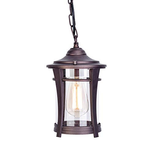 Stepeak Tranditional Exterior Outdoor Ceiling Pendant Light, Bronze Finished Nightstand Gazebo Chandelier with Clear Glass for Porch, Island - Natural Rust Chandeliers Finish