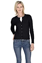 Cashmeren Women S 100 Pure Cashmere Classic Knit Soft Button Front Long Sleeve Crew Neck Cardigan Sweater Black Xx Large