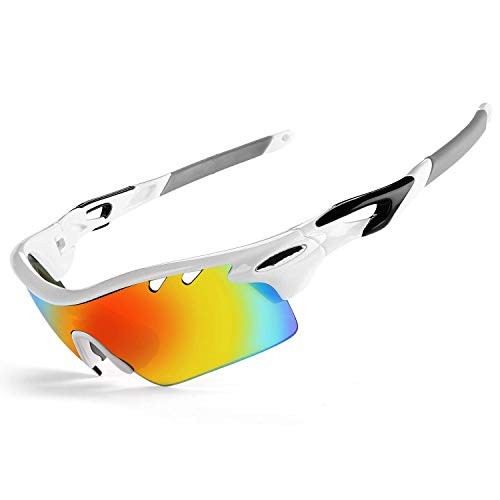 JOGVELO Polarized Sports Sunglasses,Cycling Glasses Men Anti-Fogging UV400 with 5 Interchangeable Lenes for Running Driving Baseball, White
