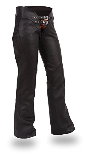 Ultimate Leather Apparel Ladies Low Rise Leather Motorcycle Chaps with Lacing on Back of Thigh M Black