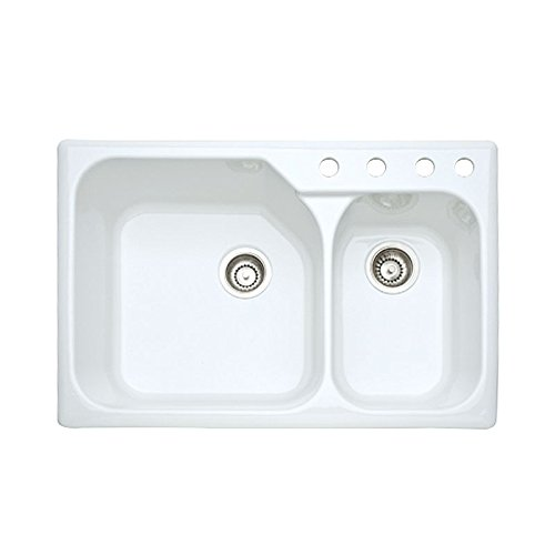 - Rohl 6327-00 33-Inch by 22-Inch Allia Fireclay Kitchen Sink with Four Holes in White