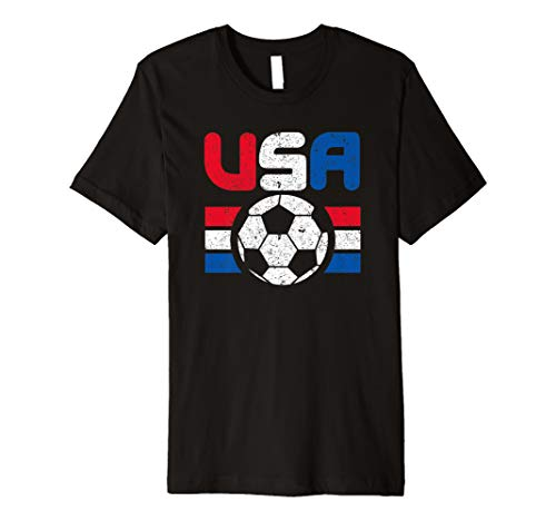 Distressed Red, White and Blue Soccer Flag Shirts of the USA Premium T-Shirt